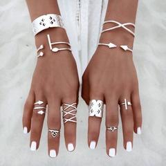 8pcs Silver Bohemian Vintage Knuckle Boho Tribal Ethnic Hippie Rings Set silver one size