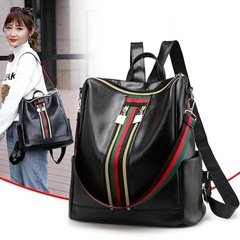 Women Lightweight Leather Strip Backpack Purse Versatile Shoulder Bag with Shoulder Straps black one size