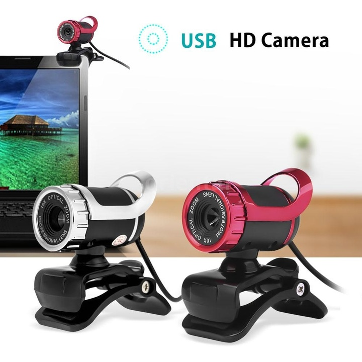 USB 2.0  360 Degree  12 Megapixel HD Camera Webcamer with MIC  PC Laptop Spare Parts Red one size