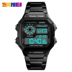 SKMEI Men Sports Watch Countdown Waterproof Watch Stainless Steel Fashion Digital Wristwatch Black one size