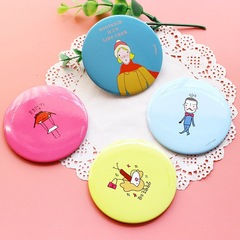 1 piece of tin mirror with Cartoon pattern different color dia. 7cm
