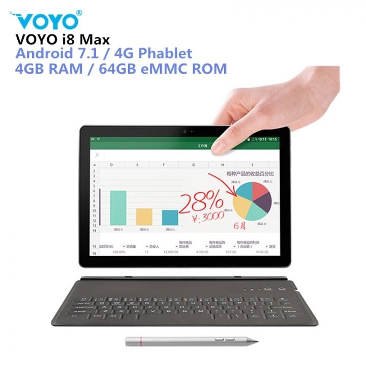 VOYO I8 Max LTE 4G Phablet Tablet PC10.1'' MTK6797  4GB+64GB 13MP 4G Phone Call  OTG Dual-SIM GPS white standard