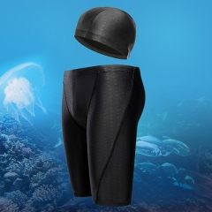 *Local seller*SETS Professional Shark Skin Men High Quality Swiming Trunks Swim Jammer Swimsuit black long xl