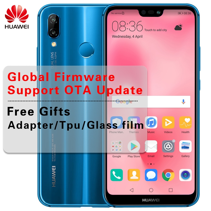 Huawei P20 Lite Global Firmware 4G LTE Smartphone Nova 3e Face ID 5 84  ''Full View Screen 2280*1080P 4g+64g(gold)