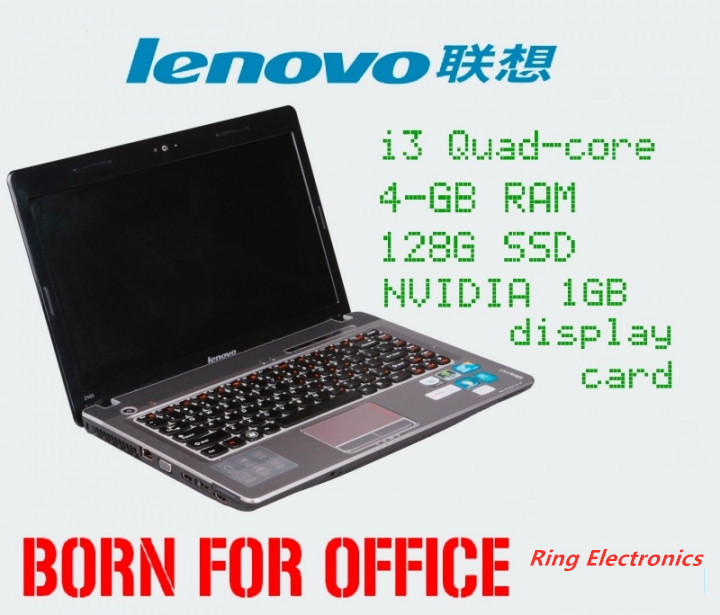 14.1inch/Lenovo pratical laptop/i3 Quad-core Processer/4G-RAM/128G-SSD/WiFi/Cable/Camera/CD-ROM black 340mm*232mm*17.2mm