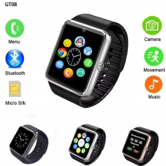 SmartWatch GT08 2018 SIM/TF Bluetooth Sport Pedometer WristWatch Smartwatch For Android phone A1 silver one size