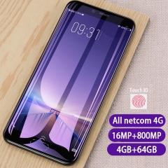 New phone 2018 All netcom 4G 4G+64G 5.5Inch 16MP+8MP Fingerprint unlocking Dual SIM Phone vivi v9 blue