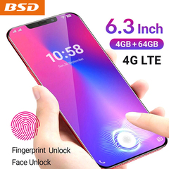 New phone 6.3inch 4G+64G 13MP+8MP 4G LTE Face&Fingerprint unlocking BSD x20s Dual SIM smartphone blue