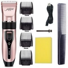All in1 USB Rechargeable Electric hair Clipper USB Haircut Hairdressing tools one size gold pink one size