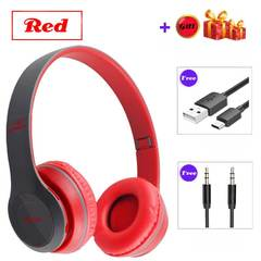 Buy 1 Get 8 Gifts Wired Wireless Bluetooth Earphones Computer Headset Wireless Earphones red