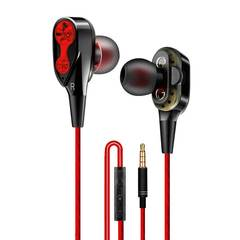 Four-Corn Double Rring subwoofer Noise Reduction Wire Earphones red