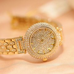 New European Popular Style Jewelry Ladies Shiny Watch Bling Women Wristwatches gold one size