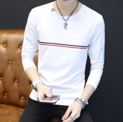 long-sleeved T-shirt for men's wear with round neck for autumn, slim and solid color for men's wear White XL Polyester fiber (polyester)