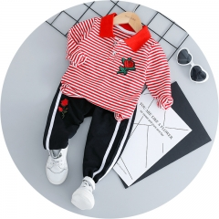 Small children's striped rose embroidery POLO shirt set Autumn cotton two-piece set red 6 cotton