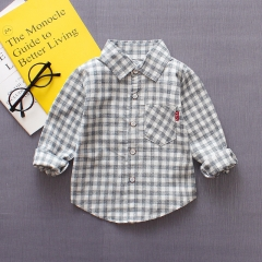 Spring and Autumn New Children's Wear 0-4 Years Old Boy Cotton Single Piece Pure Square Long Shirt black s