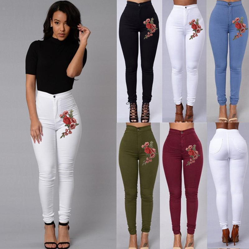 fde1717db53af BTD Plus Size S-2XL Jeans Rose Floral Elastic Slim Denim Trousers Pencil  Legging Women white s  Product No  1794790. Item specifics  Seller  SKU BT-0046 ...