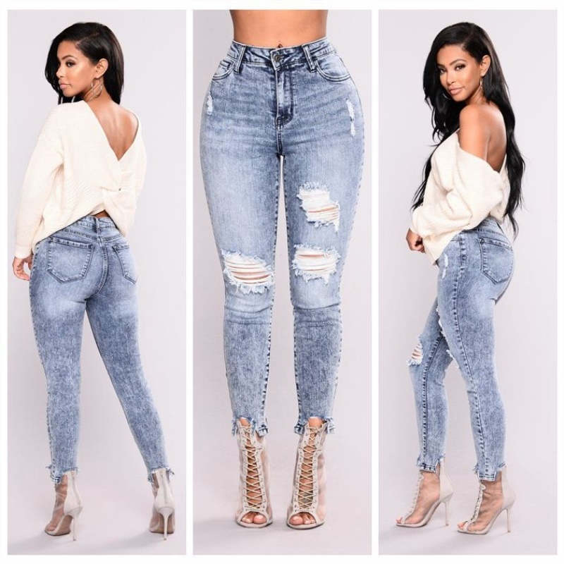 a9831ef577c4c BTD Hot Plus Size Ripped Jeans S-3XL Elastic Slim Denim Trousers High Waist  Pen Legging Women light blue s  Product No  1967870. Item specifics  Seller  ...