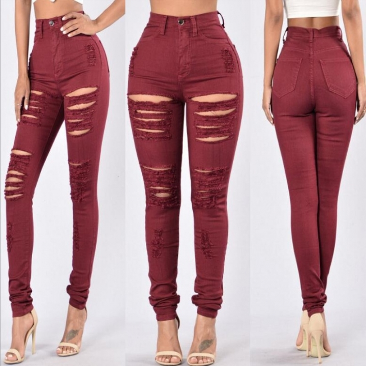 42893932e1d5b BTD S-3XL Ripped Jeans Elastic Plus Size Slim Denim Trousers High Waist  Pencil Legging