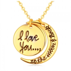 BTD Hot Heart Gold Necklace I Love You Letter Pendant Chain jewelry Gift Women 1pc gold