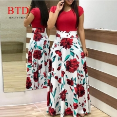 BTD Hot Ladies Dresses Floral Print Short Sleeve Maxi Dress High Waist Dress Women s red