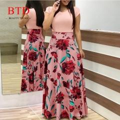 BTD Hot Ladies Dresses Floral Print Short Sleeve Maxi Dress High Waist Dress Women s pink
