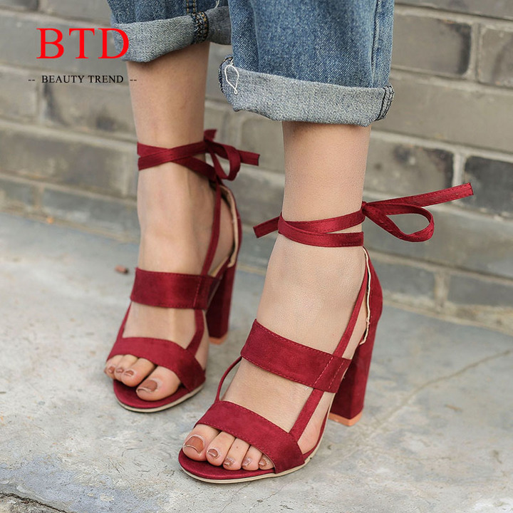 cf5aa23b96a BTD Hot Plus Size 34-43 Ladies Heels Suede Cross Bandage Thick High Heels  Sandals