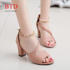 BTD Hot Plus Size 34-42 Ladies Heels Suede Thick High Heels Sandals Bead Design Elegant Women Shoes pink 34
