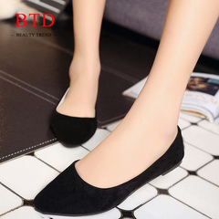 BTD Hot 6 Colors Suede Flat Shoes Ladies Pointed Casual Office Shoes Women Lady Black 35