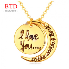 BTD Hot Heart Gold Necklace I Love You Letter Pendant Chain jewelry Gift Women gold Perimeter:46cm
