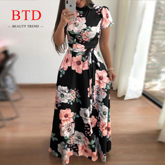 BTD Hot Ladies Maxi Dresses Short/Long Sleeve Floral Print Lace up Slim Elegant Dress Women s black[Short sleeve]