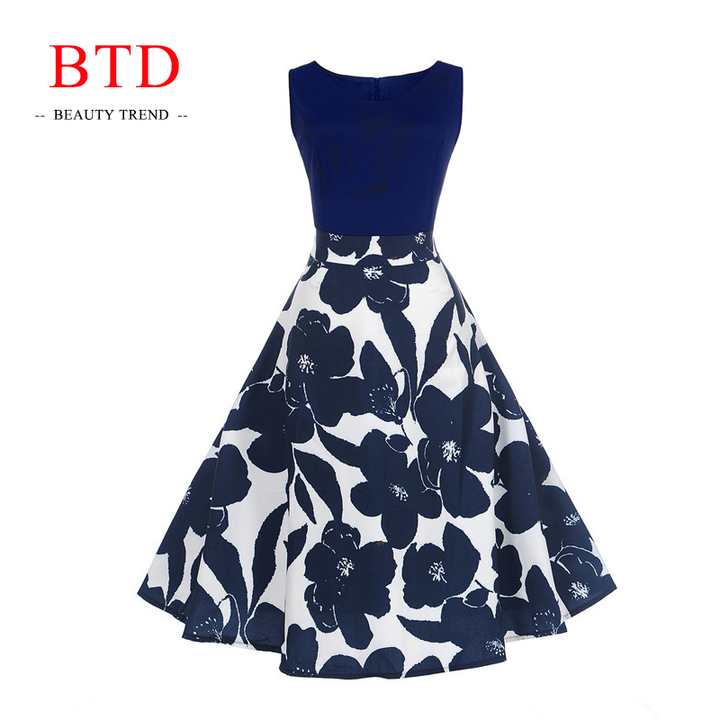 BTD S-5XL Plus Size Ladies Dresses Sleeveless Retro Floral Elegant Mini  Dress Evening Party 757d9fa9bfd1