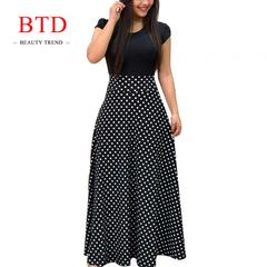 BTD Hot Ladies Dresses Floral Print Short/Long Sleeve Maxi Dress High Waist Dress Women m black[short sleeve]