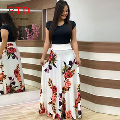 BTD Hot Ladies Dresses Floral Print Short Sleeve Maxi Dress High Waist Dress Women s White[short sleeve]