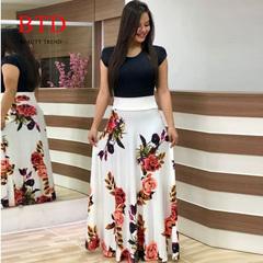 BTD Hot Ladies Dresses Floral Print Short Sleeve Maxi Dress High Waist Dress Women s White[short sleeve]