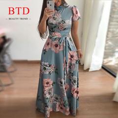 BTD Hot Ladies Maxi Dresses Short/Long Sleeve Floral Print Lace up Slim Elegant Dress Women l light blue[Short sleeve]