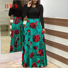 BTD Hot Ladies Dresses Floral Print Short/Long Sleeve Maxi Dress High Waist Dress Women s green[long sleeve]