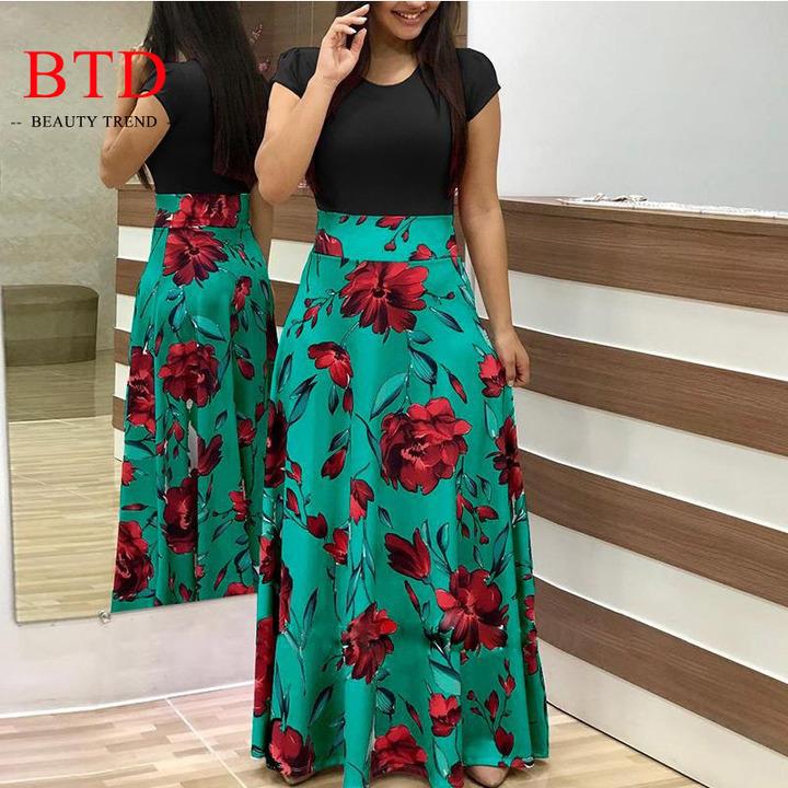 BTD Hot Ladies Dresses Floral Print Short/Long Sleeve Maxi Dress High Waist Dress Women xl green[short sleeve]
