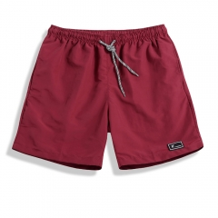 Summer Shorts Men Breathable Casual Shorts Mens Bermuda Knee Length Elastic Waist Beach Shorts Red 3XL