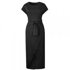 Summer Short Sleeve Bodycon Party Dress Plus Size Sexy Women Long Maxi Boho Dress Elegant Female XL Black
