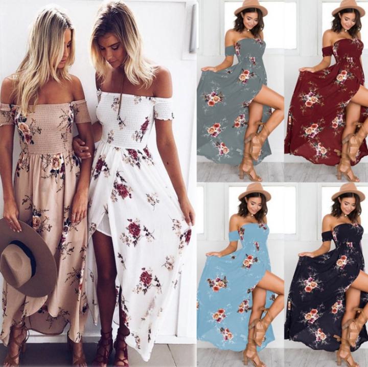 4e17c3091d75b Summer Fashion Women Boho Floral Print Sexy Split Long Beach Dress l khaki