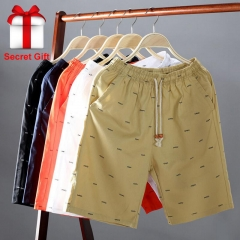 New Arrival Men Shorts Cotton Casual Shorts For Men Elastic Waist Summer Beach Shorts black 2xl