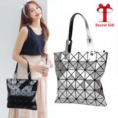 Fashion Folded Women Handbags Famous Issey Miyak Diamond Tote Bags black one size
