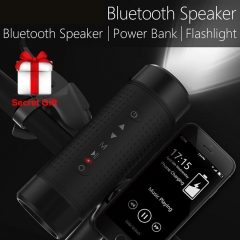 Bluetooth Speaker Outdoor Bicycle Speakers Power Bank+LED light +Bike Mount+Carabiner For JBL black one size