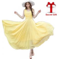 Maxi Dresses Fashion Sleeveless Boho Bohemian Beach Chiffon Long Dress s white