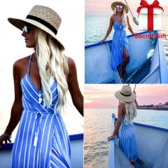 New Women Summer Boho Maxi Long Dress Striped Halter Sundress Irregular bohemian beach dress s blue
