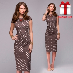 Women Dot Print Slim dress Short Sleeve Office Business Dress Elegant Sheath Party Vestidos s brown