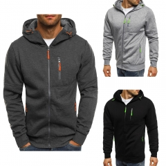 Men Fashion Hoodies  Men Personality Zipper Sweatshirt Male Autumn Winter Hoodie Black M