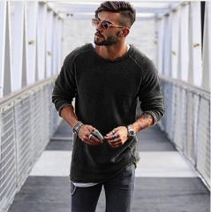 Men Sweater Autumn Winter Knitted Loose Jumper Male thin men's pullover sweaters casualç black m