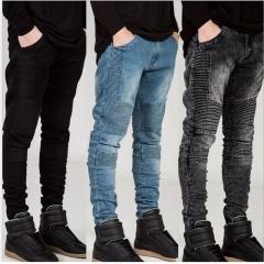 Men's fashion Motorcycle Slim Fit Black Blue Moto Denim Pants Joggers Skinny Men jeans black 29