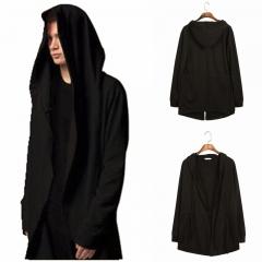 Autumn Fashion Hip Hop Mantle Hoodies Black Gown Jacket Long Sleeve Cloak Men's Coats black m